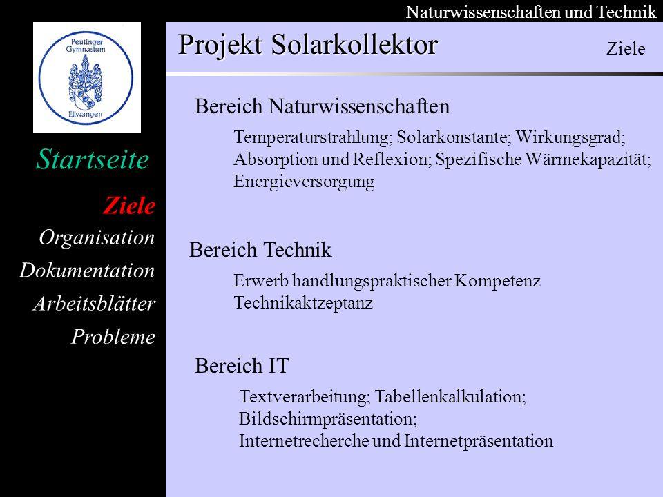 Ziele Bereich Naturwissenschaften Bereich Technik Bereich IT Ziele