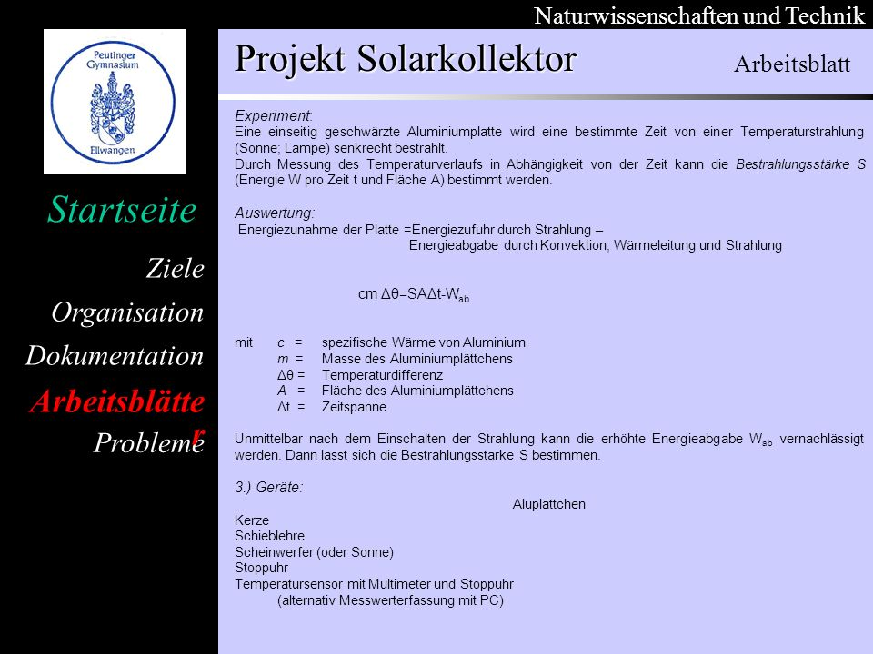 Arbeitsblätter Arbeitsblatt Experiment: Auswertung: 3.) Geräte: