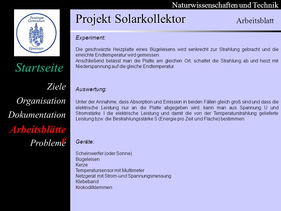 Arbeitsblätter Arbeitsblatt Experiment: Auswertung: Geräte: