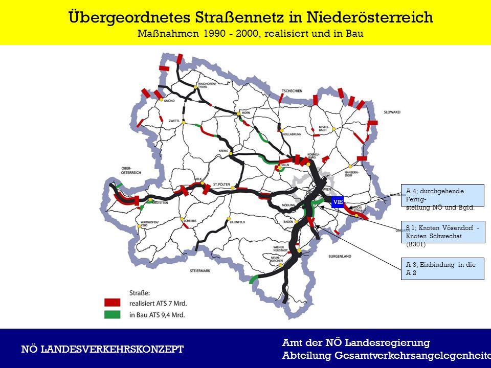 Übergeordnetes Straßennetz in Niederösterreich