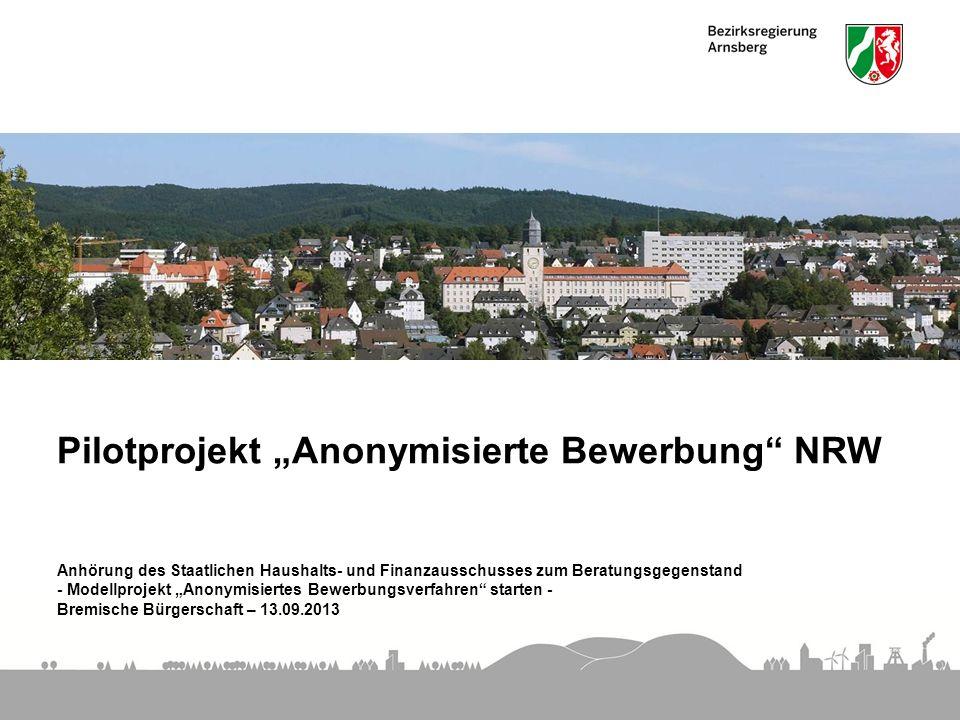 """Pilotprojekt """"Anonymisierte Bewerbung NRW"""