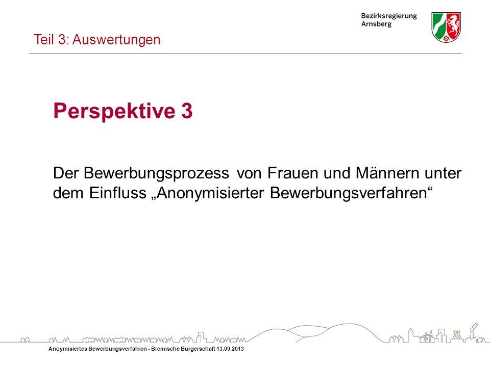 """Teil 3: Auswertungen Perspektive 3. Der Bewerbungsprozess von Frauen und Männern unter dem Einfluss """"Anonymisierter Bewerbungsverfahren"""