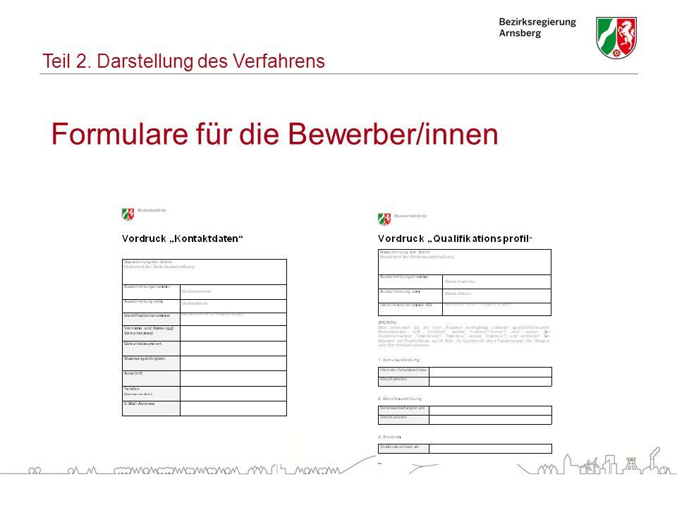 Formulare für die Bewerber/innen