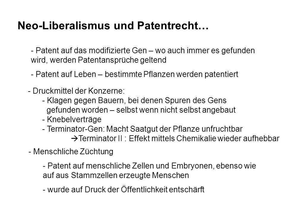 Neo-Liberalismus und Patentrecht…