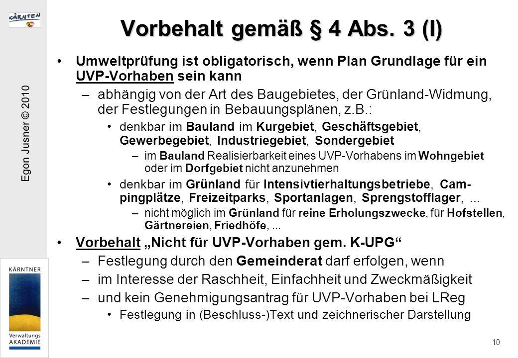 Vorbehalt gemäß § 4 Abs. 3 (I)