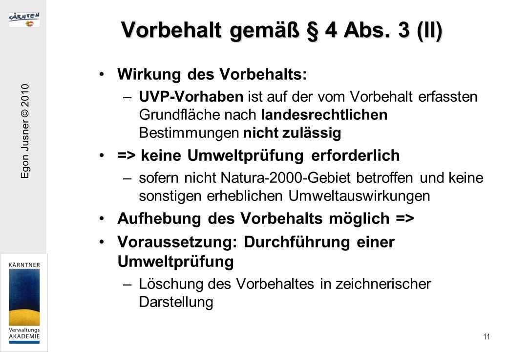 Vorbehalt gemäß § 4 Abs. 3 (II)