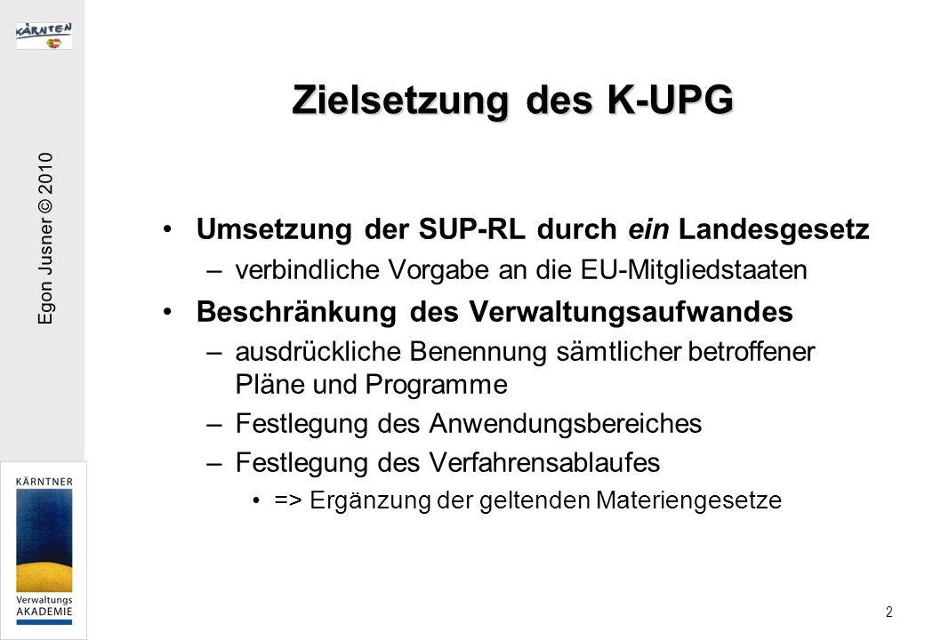 Zielsetzung des K-UPG Umsetzung der SUP-RL durch ein Landesgesetz