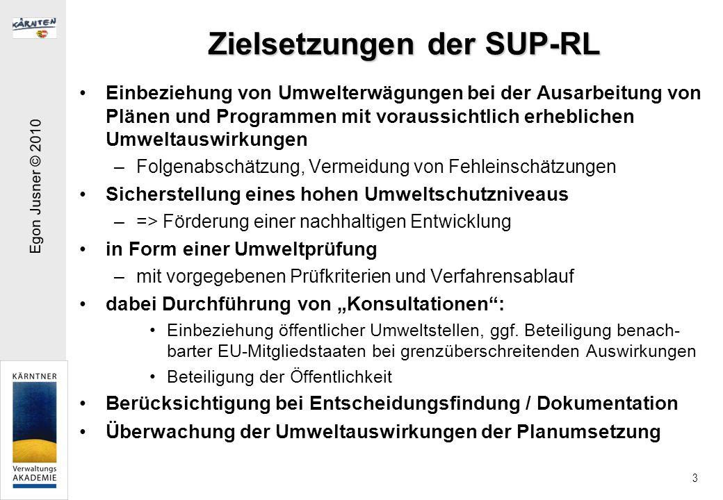 Zielsetzungen der SUP-RL