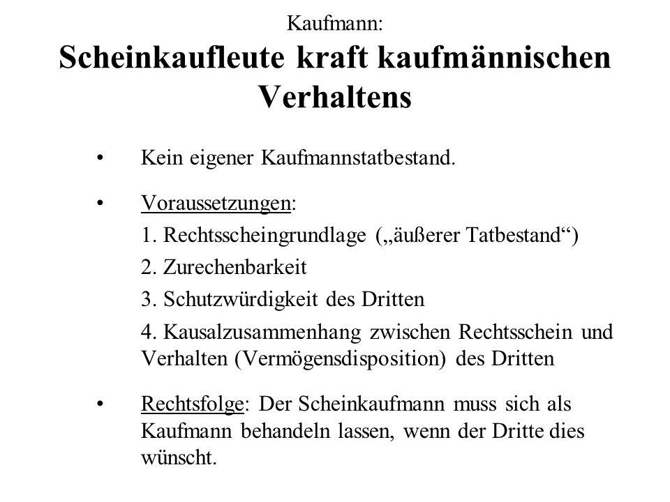 Kaufmann: Scheinkaufleute kraft kaufmännischen Verhaltens