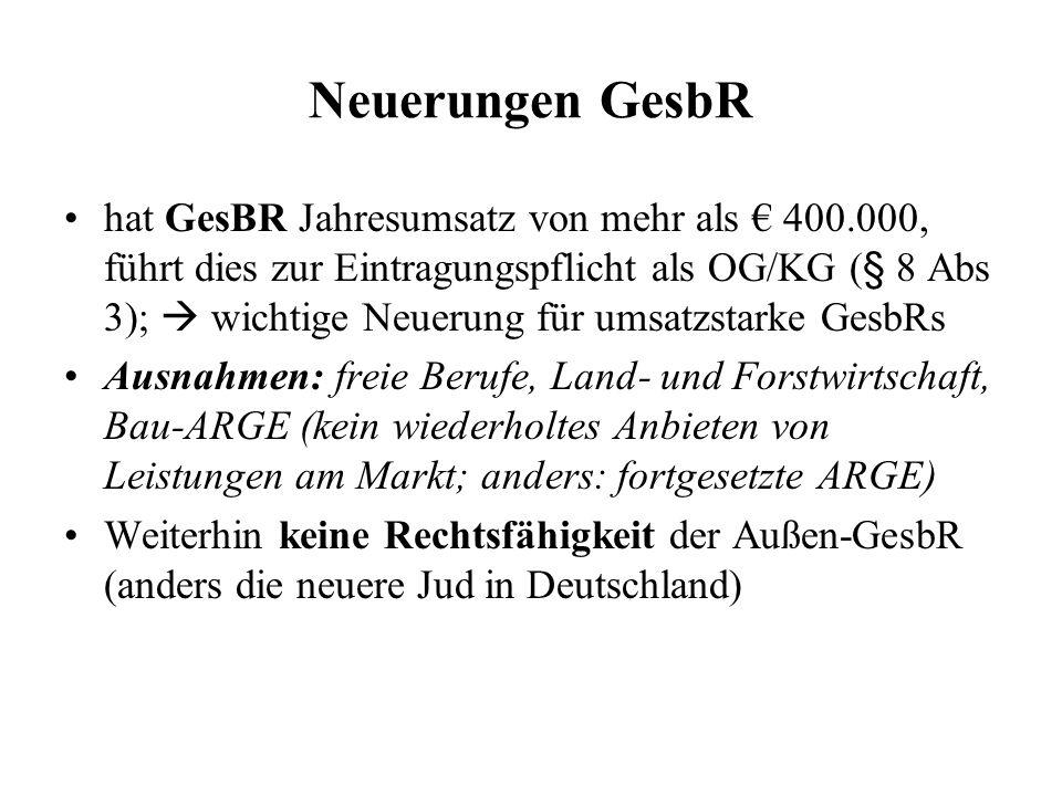 Neuerungen GesbR