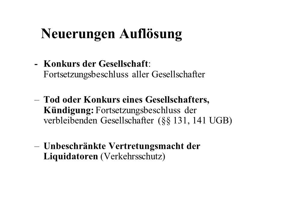 Neuerungen Auflösung - Konkurs der Gesellschaft: Fortsetzungsbeschluss aller Gesellschafter.