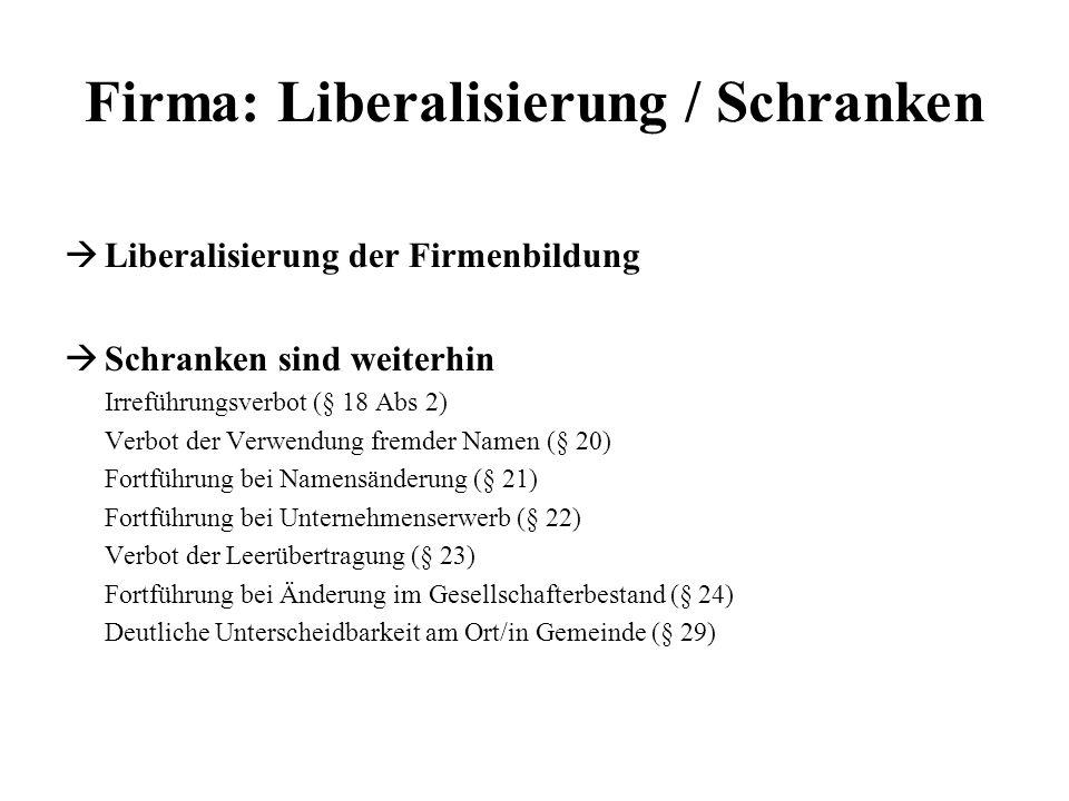 Firma: Liberalisierung / Schranken