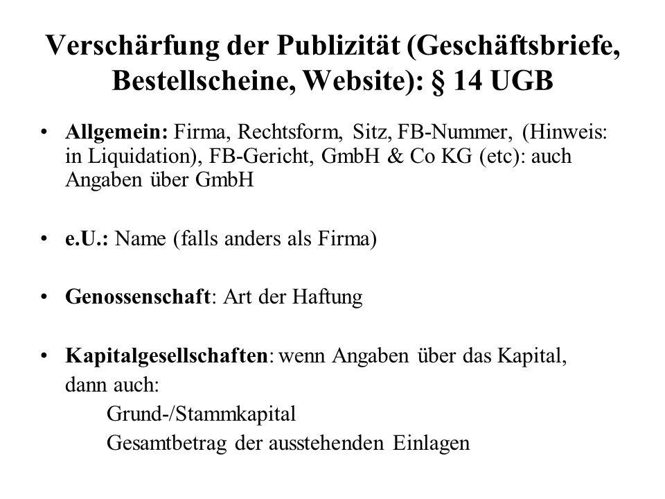 Verschärfung der Publizität (Geschäftsbriefe, Bestellscheine, Website): § 14 UGB