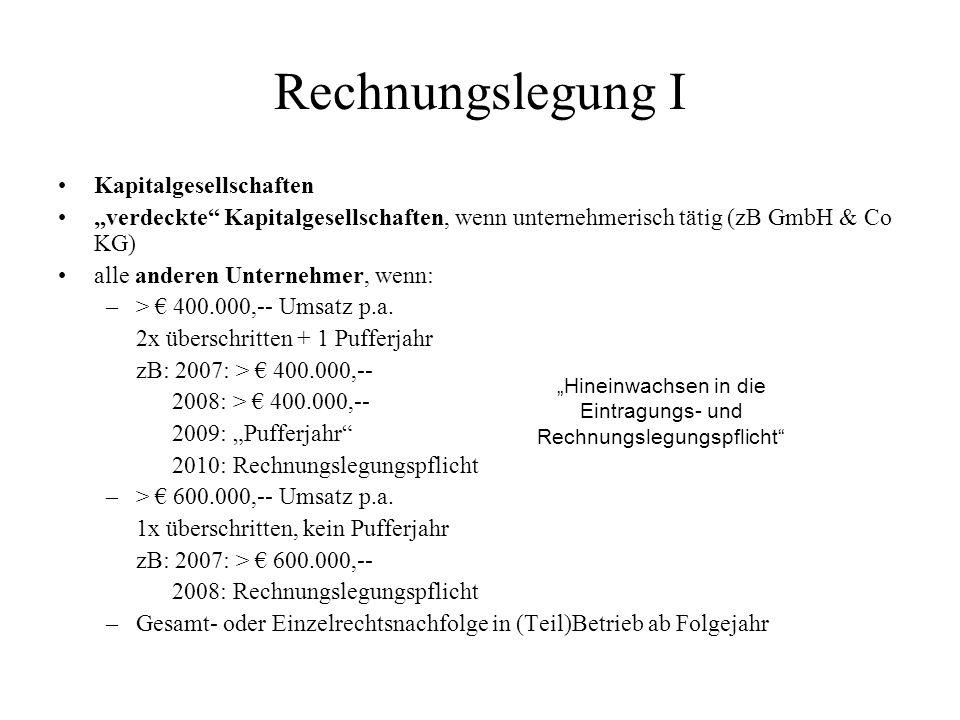 """""""Hineinwachsen in die Eintragungs- und Rechnungslegungspflicht"""