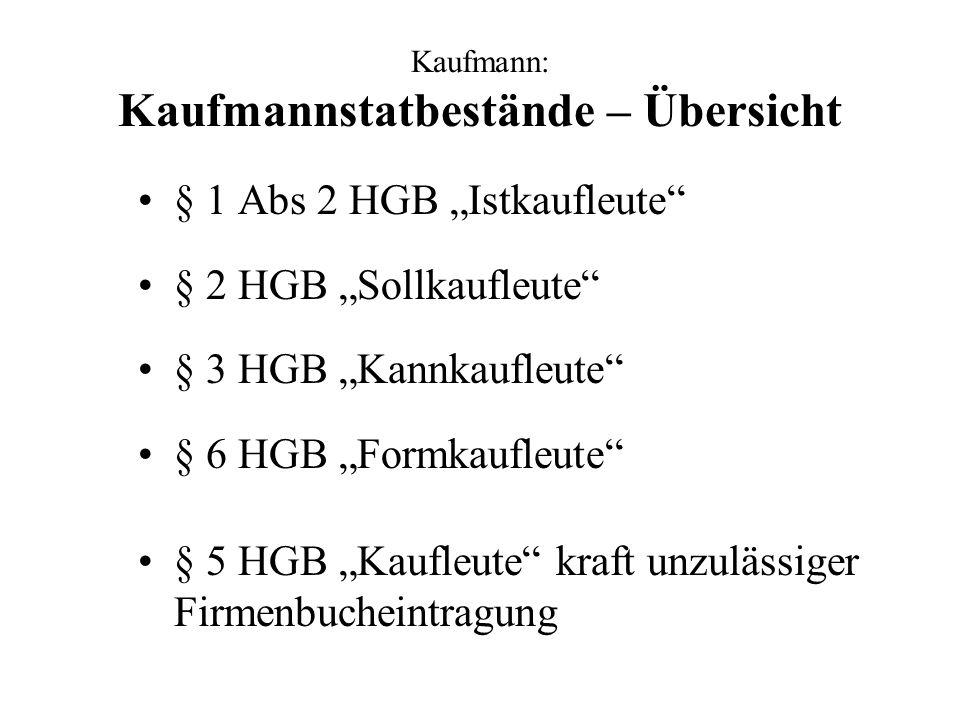 Kaufmann: Kaufmannstatbestände – Übersicht