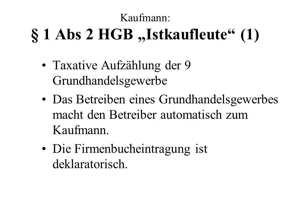 """Kaufmann: § 1 Abs 2 HGB """"Istkaufleute (1)"""