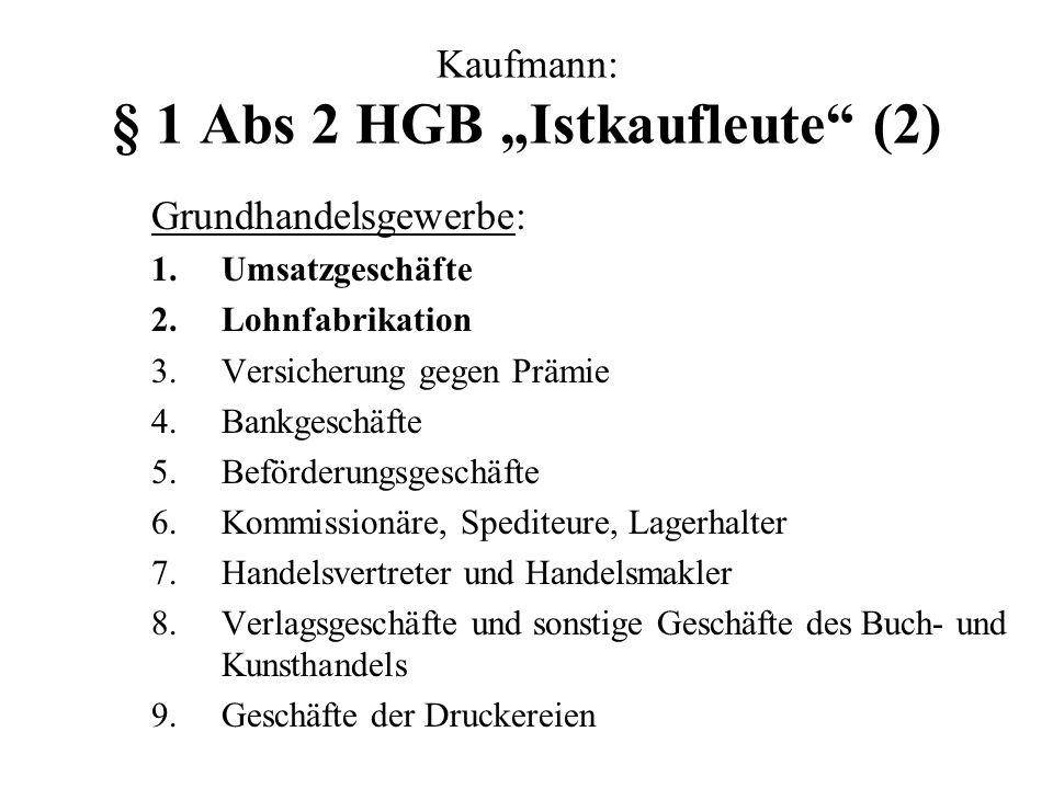 """Kaufmann: § 1 Abs 2 HGB """"Istkaufleute (2)"""