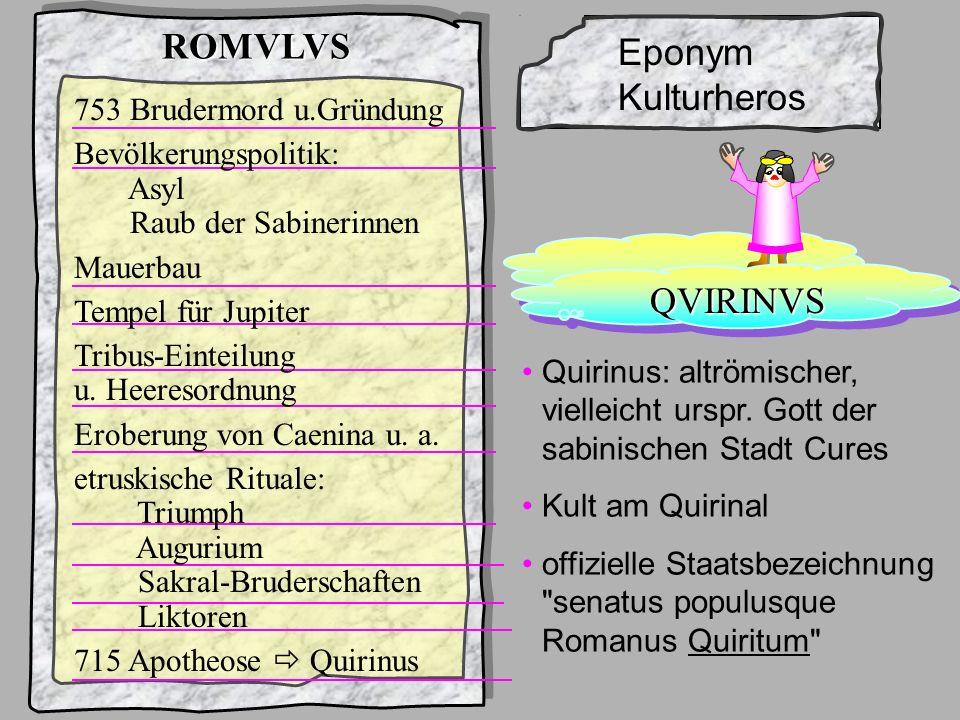 König1Romulus Rom und seine 7 Könige ... ROMVLVS Eponym Kulturheros