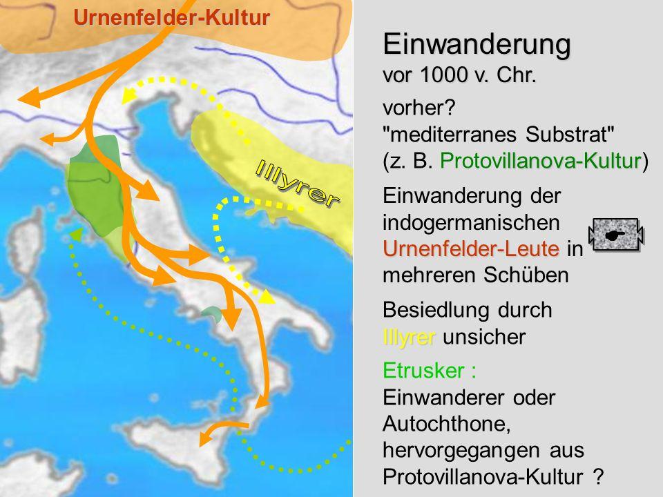 Einwanderung Einwanderung vor 1000 v. Chr.  Urnenfelder-Kultur