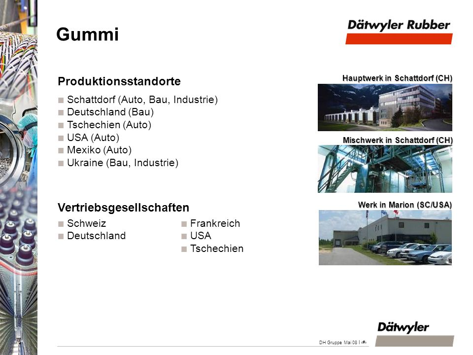 Gummi Produktionsstandorte Vertriebsgesellschaften