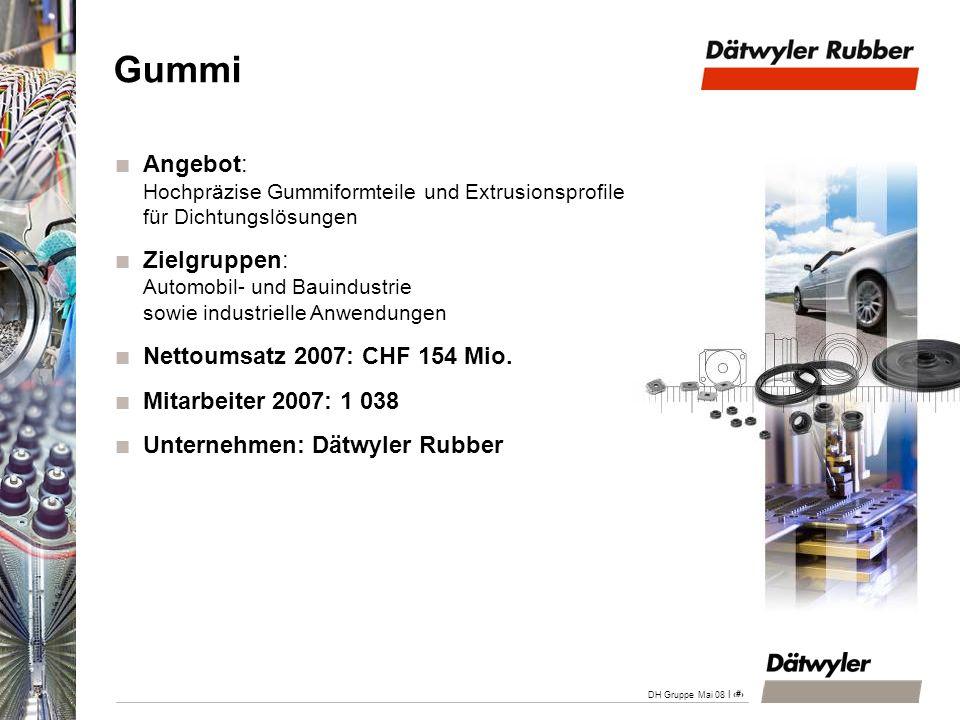 DH Gruppe April 200828.03.2017. Gummi. Angebot: Hochpräzise Gummiformteile und Extrusionsprofile für Dichtungslösungen.
