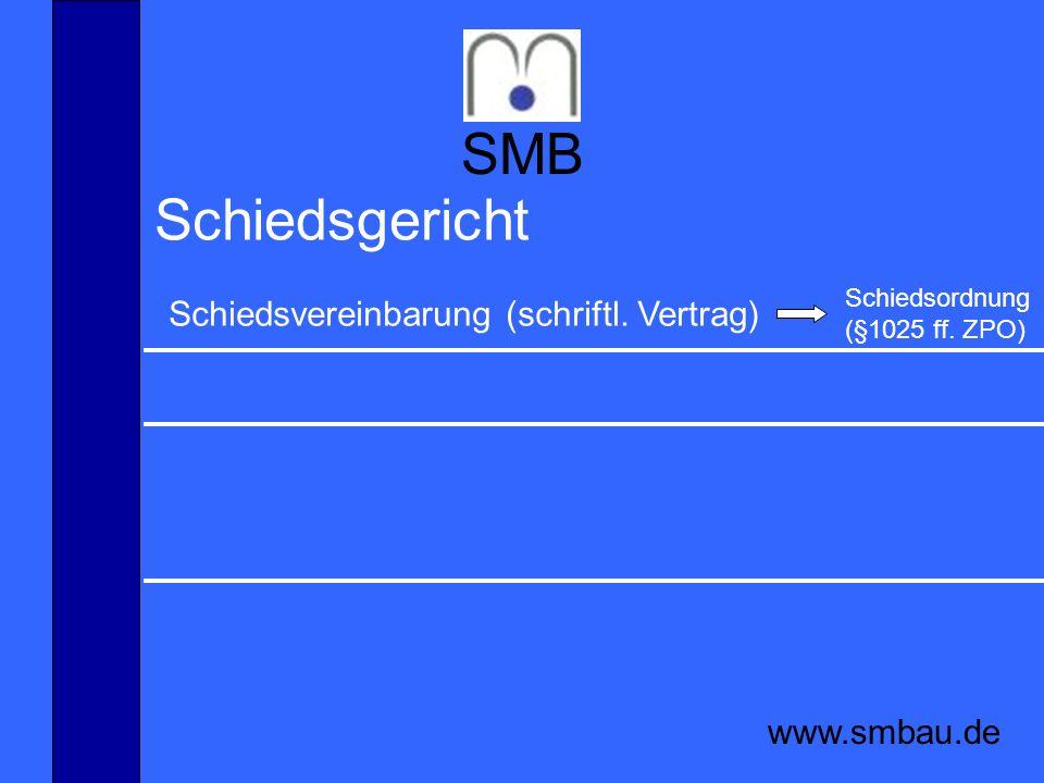 SMB Schiedsgericht Schiedsvereinbarung (schriftl. Vertrag)