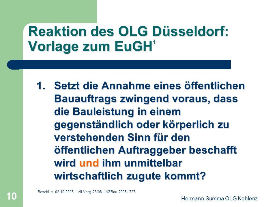 Reaktion des OLG Düsseldorf: Vorlage zum EuGH1