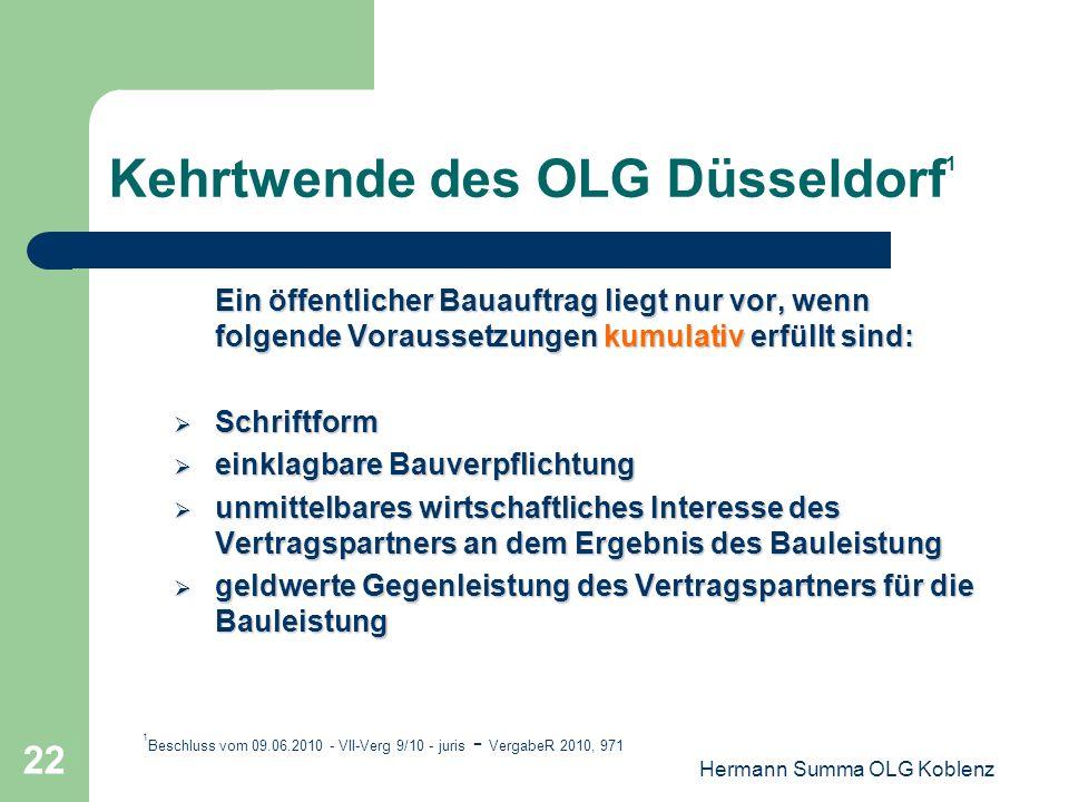 Kehrtwende des OLG Düsseldorf1