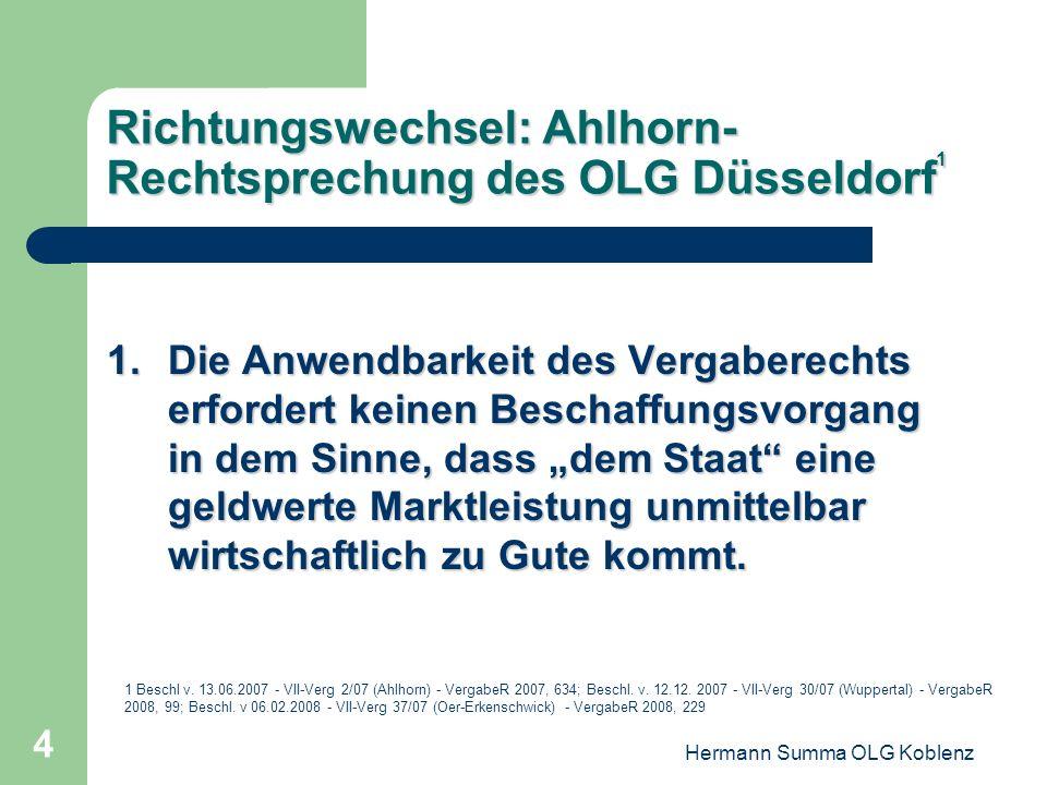 Richtungswechsel: Ahlhorn-Rechtsprechung des OLG Düsseldorf1