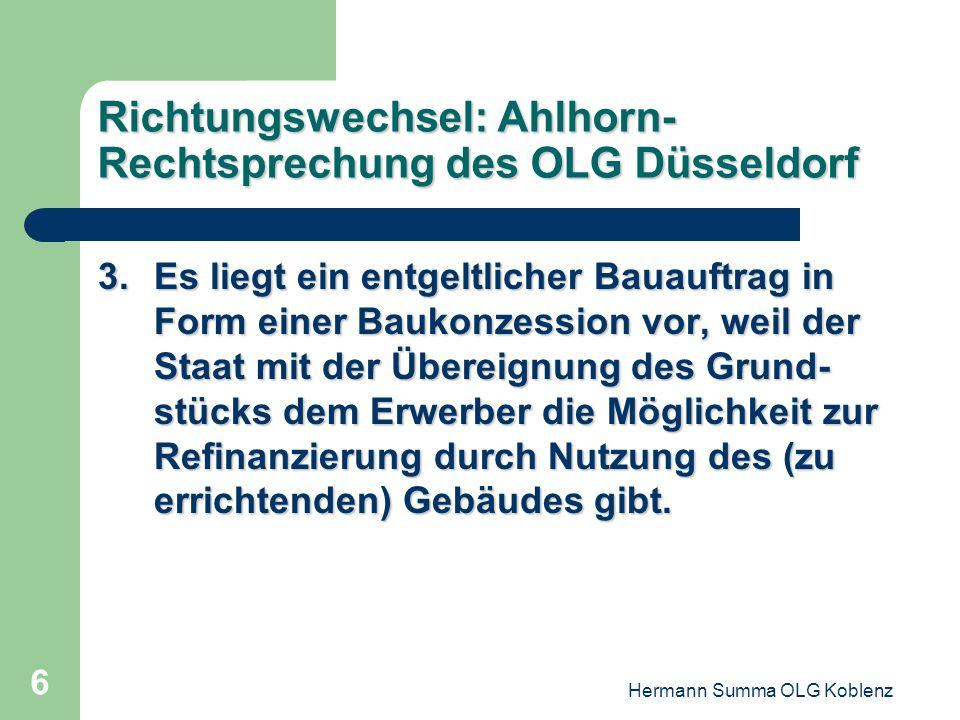 Richtungswechsel: Ahlhorn-Rechtsprechung des OLG Düsseldorf