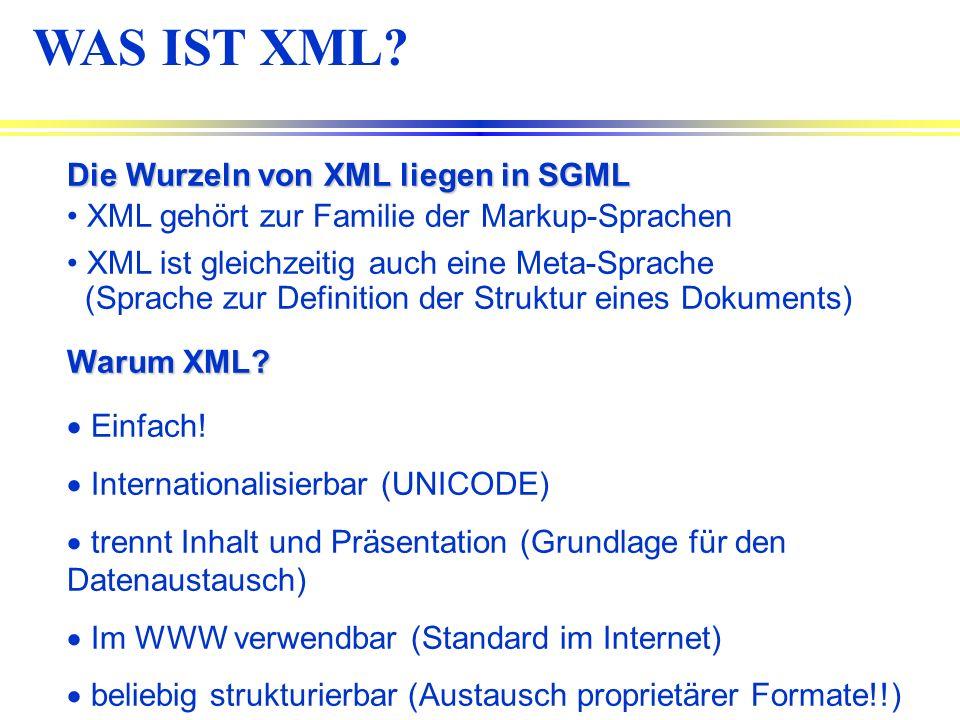 WAS IST XML Die Wurzeln von XML liegen in SGML
