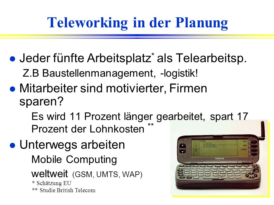 Teleworking in der Planung