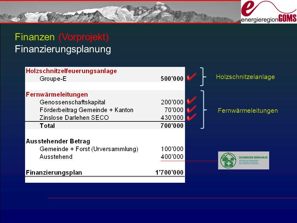 Finanzen (Vorprojekt) Finanzierungsplanung