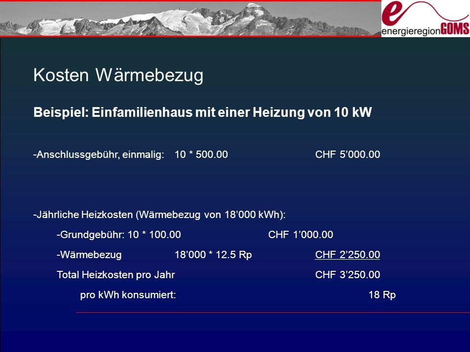 Kosten Wärmebezug Beispiel: Einfamilienhaus mit einer Heizung von 10 kW. Anschlussgebühr, einmalig: 10 * 500.00 CHF 5'000.00.