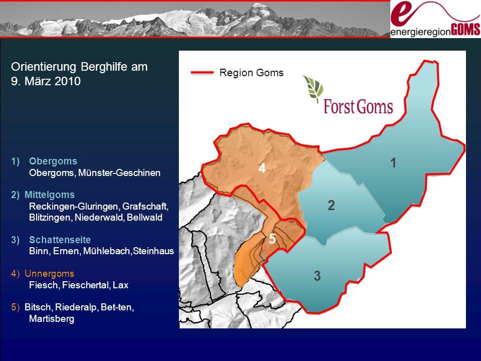 1 4 2 5 3 Orientierung Berghilfe am 9. März 2010 Region Goms Obergoms