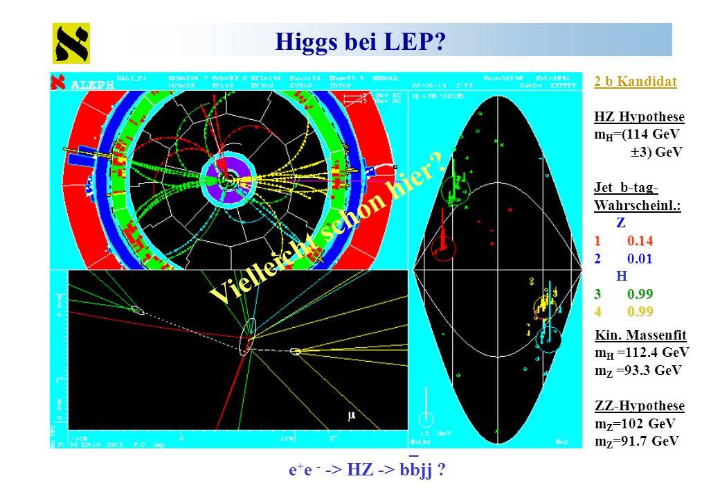 Vielleicht schon hier Higgs bei LEP _ e+e - -> HZ -> bbjj