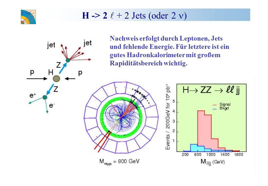 H -> 2 l + 2 Jets (oder 2 n) Nachweis erfolgt durch Leptonen, Jets
