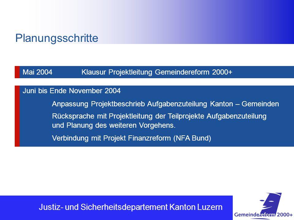 Planungsschritte Justiz- und Sicherheitsdepartement Kanton Luzern