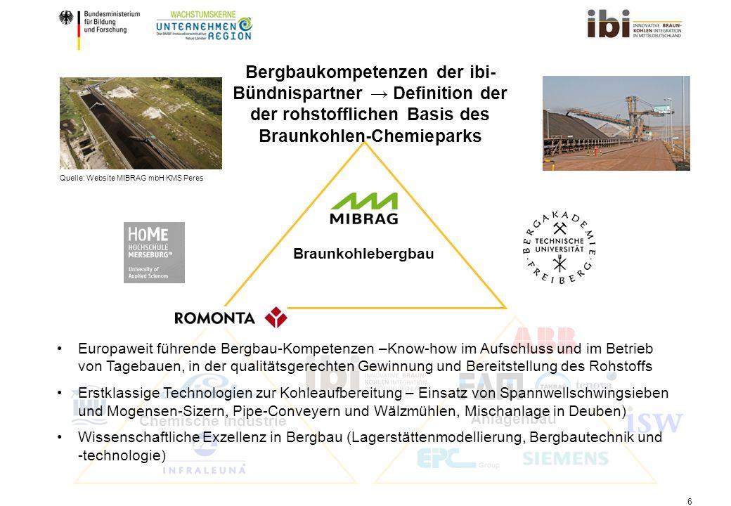 Bergbaukompetenzen der ibi-Bündnispartner → Definition der der rohstofflichen Basis des Braunkohlen-Chemieparks