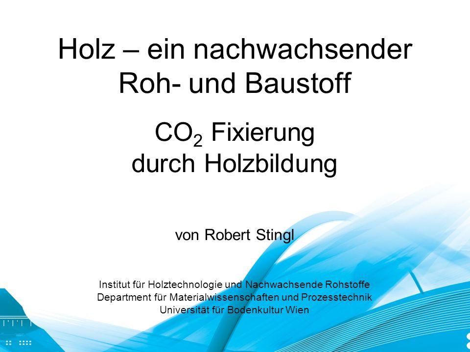 Holz – ein nachwachsender Roh- und Baustoff CO2 Fixierung durch Holzbildung von Robert Stingl Institut für Holztechnologie und Nachwachsende Rohstoffe Department für Materialwissenschaften und Prozesstechnik Universität für Bodenkultur Wien