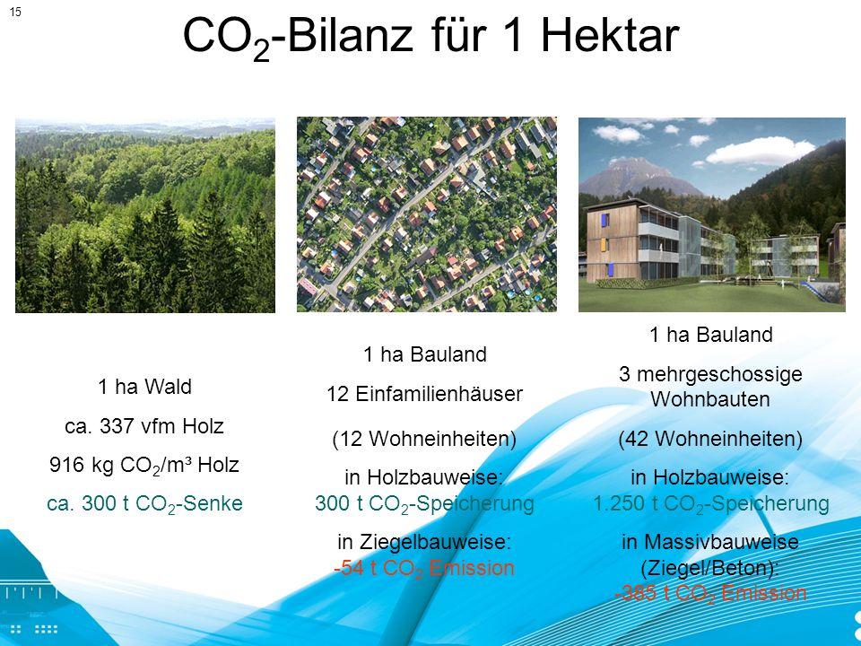 CO2-Bilanz für 1 Hektar 1 ha Bauland 3 mehrgeschossige Wohnbauten