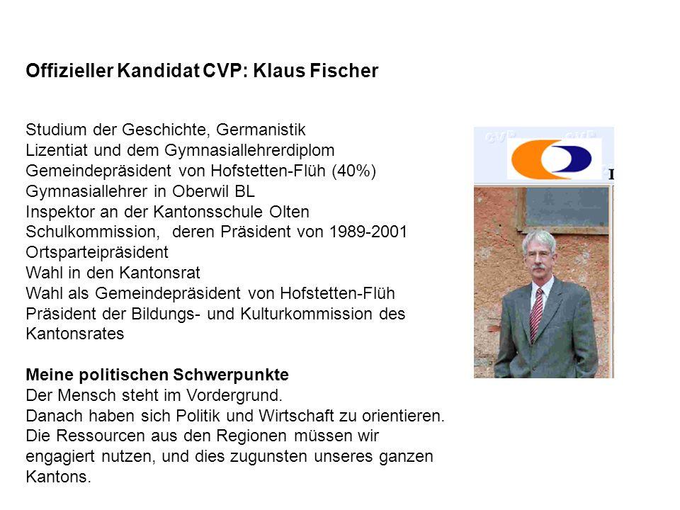 Offizieller Kandidat CVP: Klaus Fischer