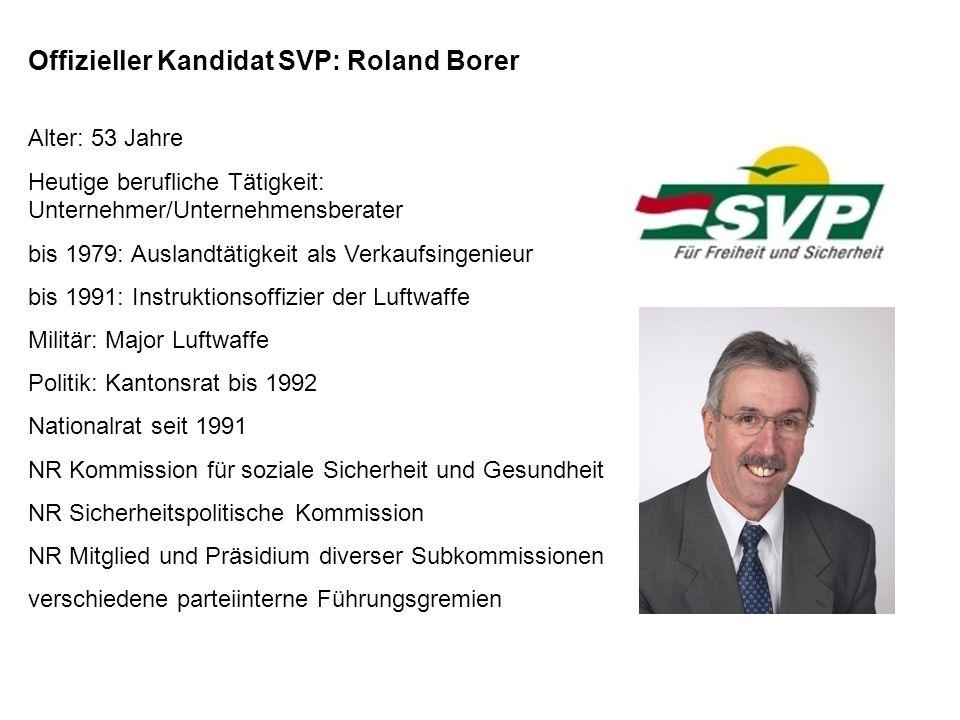 Offizieller Kandidat SVP: Roland Borer