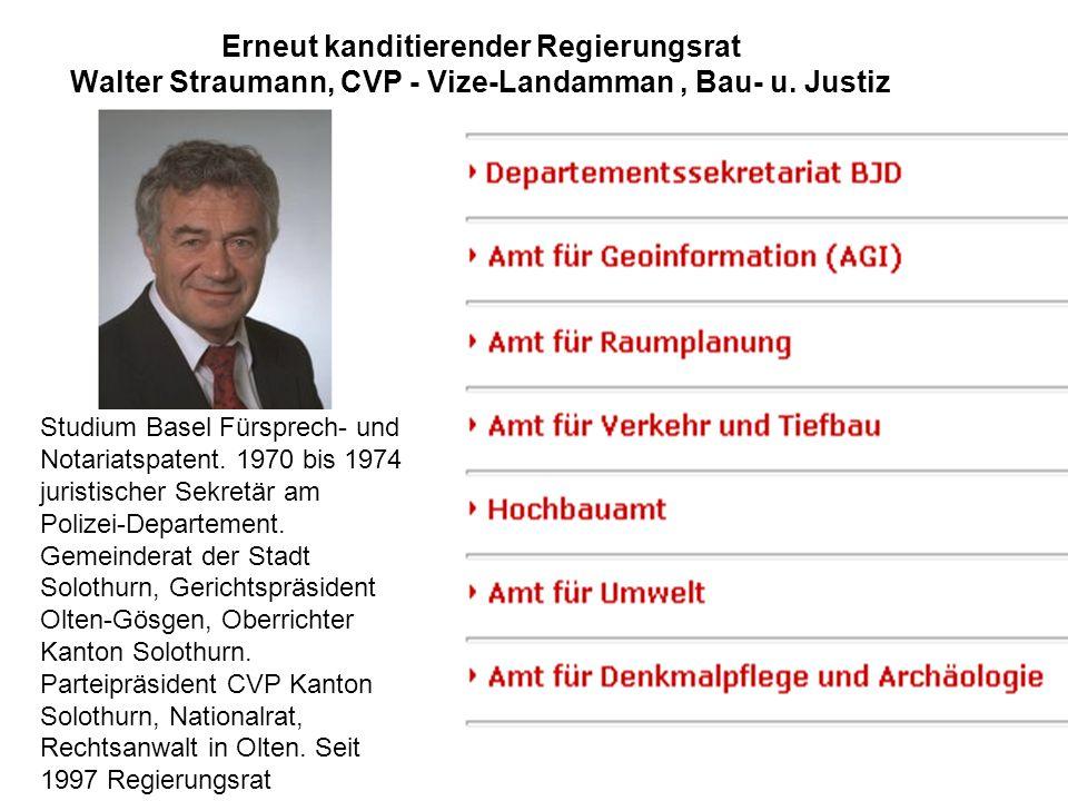 Erneut kanditierender Regierungsrat Walter Straumann, CVP - Vize-Landamman , Bau- u. Justiz