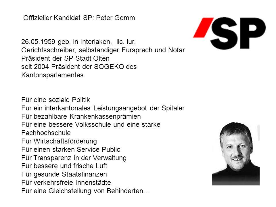 Offizieller Kandidat SP: Peter Gomm