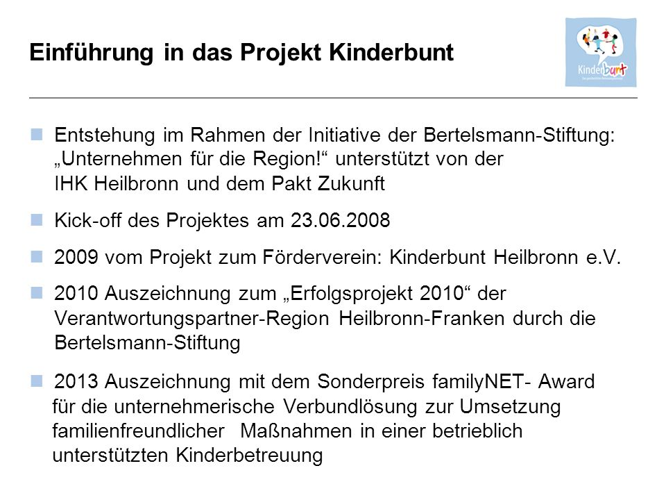 Einführung in das Projekt Kinderbunt