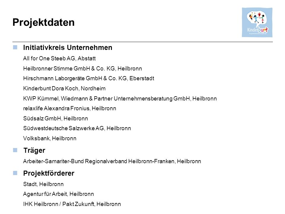 Projektdaten Initiativkreis Unternehmen Träger Projektförderer