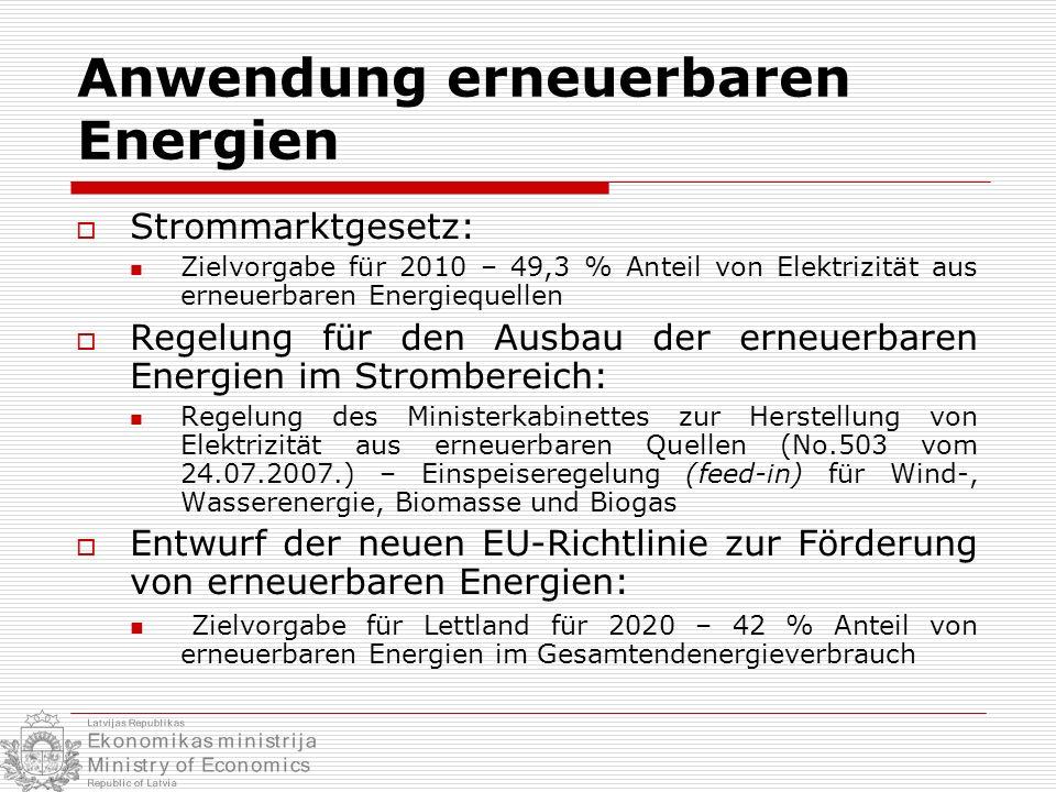 Anwendung erneuerbaren Energien