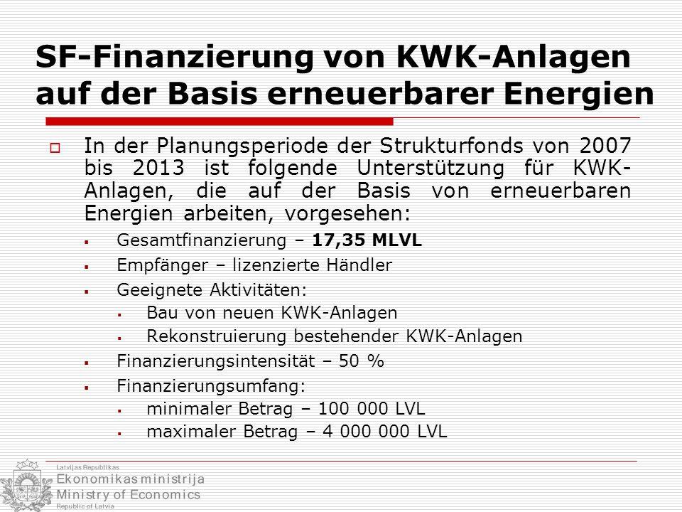 SF-Finanzierung von KWK-Anlagen auf der Basis erneuerbarer Energien