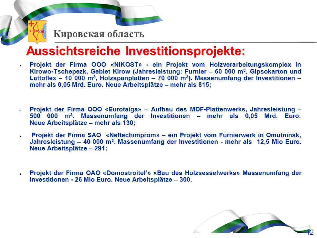 Aussichtsreiche Investitionsprojekte: